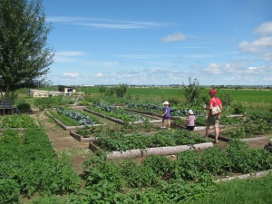 Visite de la petite famille au centre de l'agriculture et de la ruralité