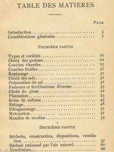 """Table des matières """"la culture et industrie du tabac"""" au Québec (1898)"""
