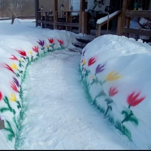 Entrée fleurie en hiver