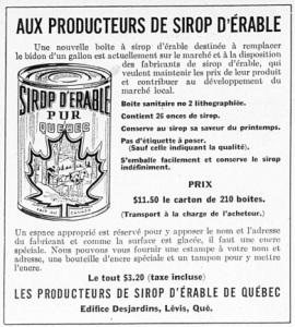 Conserve sirop d'érable (1951)