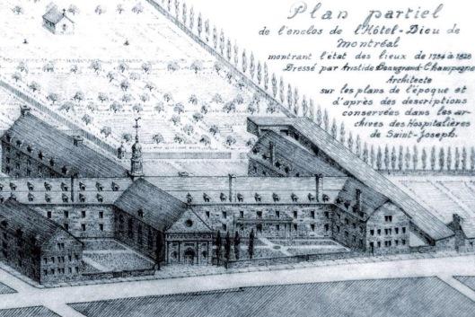 Plan des lieux de 1734 à 1828 (image: Musée des hospitalières de l'Hôtel-Dieu de Montréal)